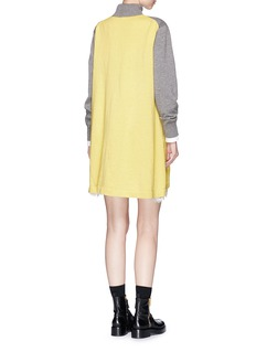 Sacai Lace underlay colourblock turtleneck sweatshirt dress