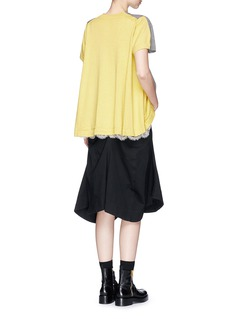 SacaiLace underlay colourblock wool-cotton sweatshirt