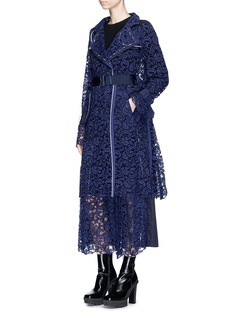 Sacai Buckled belt floral lace coat