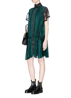 SacaiLace trim plissé pleated sateen dress