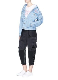 Forte Couture 'Love' slogan embroidered distressed denim jacket