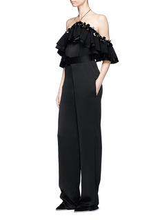 Emilio Pucci Embellished ruffle off-shoulder belted satin jumpsuit