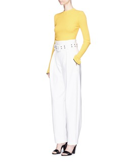 Emilio Pucci'Crespo' belted high waist cady crepe pants
