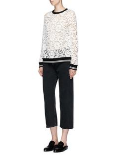 Valentino Sport stripe trim floral lace sweatshirt