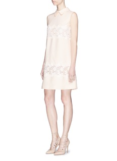 Valentino Detachable collar floral lace panel crepe shift dress