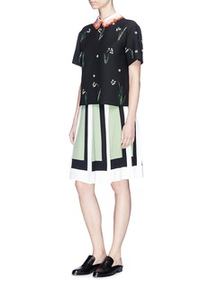 Valentino Detachable satin collar floral embellished crepe top