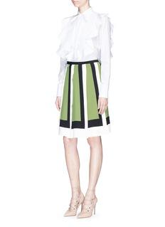 Valentino Colourblock knife pleat crepe skirt