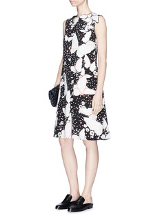 Valentino Butterfly print silk crepe de Chine sleeveless dress