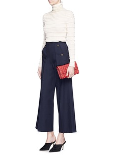 Valentino Button front flap virgin wool sailor culottes
