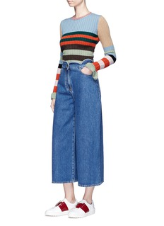 Valentino Scalloped wide leg cropped jeans