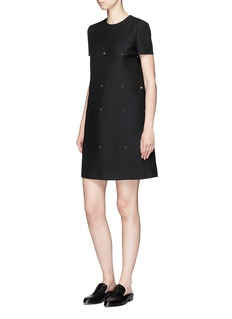 Valentino Rockstud scalloped motif crepe couture dress