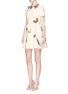ValentinoBeaded butterfly virgin wool-silk crepe dress