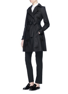 ValentinoBeaded butterfly belted trench coat