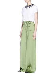 Valentino Belted wide leg silk satin pants