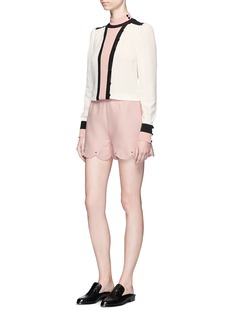 Valentino Colourblock belted high collar crepe blouse