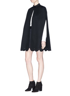 Valentino Scalloped stud hem virgin wool-cashmere cape