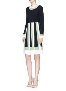 ValentinoColourblock pleated crepe dress