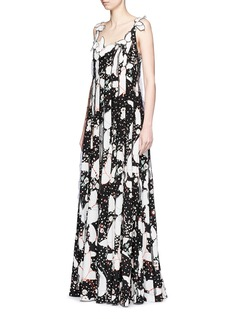 Valentino Butterfly print silk crepe de Chine maxi dress