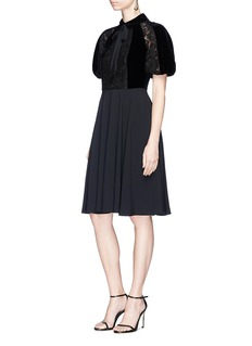 Valentino Pussybow velvet lace crepe dress