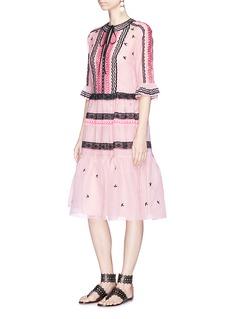 Temperley London 'Poppy Field Tie' ethnic pattern embroidered sheath dress