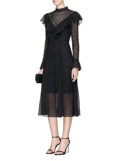 Temperley London 'Prairie' geometric lace and chiffon dress