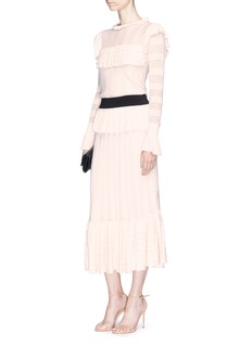 Temperley London 'Cypre' ruffle pointelle knit sheath dress