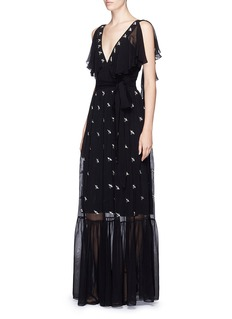 Temperley London 'Starling' bird embellished chiffon gown