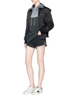 Saint Laurent 'Je t'aime' crystal collar satin bomber jacket