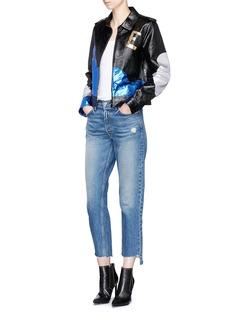 Saint Laurent Love python patch calfskin leather oversized teddy jacket