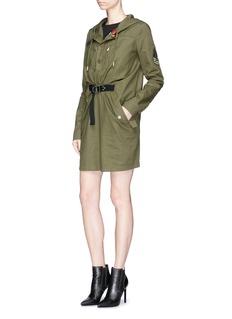Saint LaurentBelted gabardine hooded parka dress