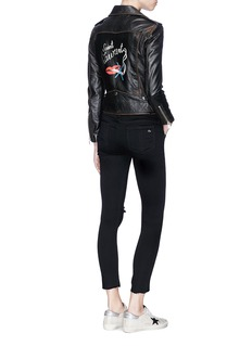 Saint Laurent Lips smoking print calfskin leather biker jacket