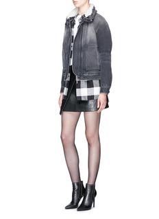 Saint Laurent Detachable shearling collar padded denim jacket