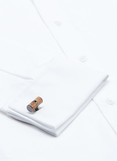 Tateossian Wood cylinder sterling silver cufflinks