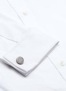 Tateossian Graffiato leather inlay titanium cufflinks