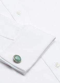 Tateossian Emerald white quartz doublet cufflinks