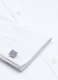 TateossianWave embossed leather inlay titanium cufflinks