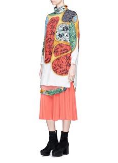 TOGA ARCHIVES Mesh hem assorted floral print turtleneck dress