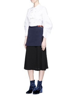 TOGA ARCHIVES Crepe underlay buckled wool knit skirt