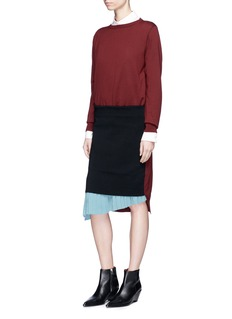 TOGA ARCHIVES 拼接设计百褶羊毛针织连衣裙