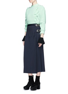 TOGA ARCHIVES Leather belt pleated wrap skirt
