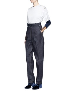 TOGA ARCHIVES Mesh trim rib long sleeve T-shirt