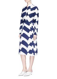 Victoria Beckham Oversized wave print silk crepe shirt