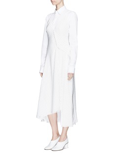 Victoria Beckham Asymmetric ruffle pinstripe silk sleeveless dress