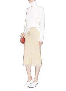 Victoria Beckham Frayed hem teddy bouclé flared skirt