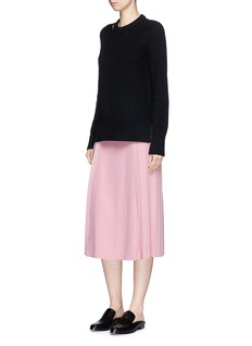 Victoria Beckham Pleated side crepe midi skirt