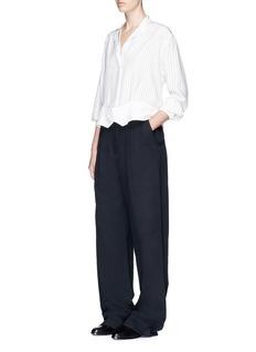 Victoria Beckham Double pinstripe print grandad shirt