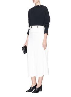 Victoria Beckham Button waist panel cady crepe midi skirt