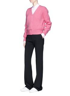 Victoria BeckhamBuckle belt V-neck wool sweater