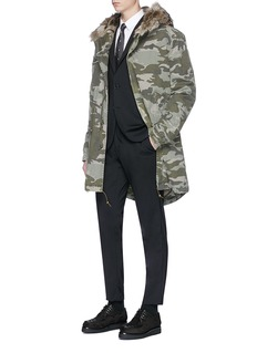 Mr & Mrs Italy Coyote fur camouflage canvas parka