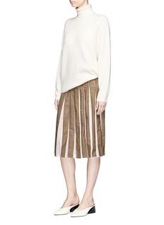 Gabriela Hearst Virgin wool check plaid crepe pleated skirt